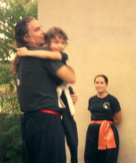 Buddha Zhen teaching his children Shaolin Kung Fu.